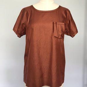 JCrew Crinkle Silk Tee Shirt Top